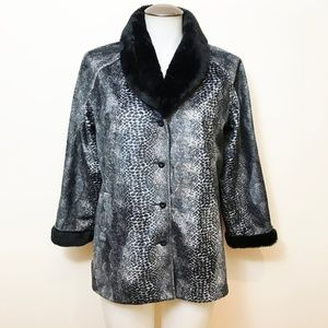 Guess Faux Fur Jacket With 3/4 Sleeves